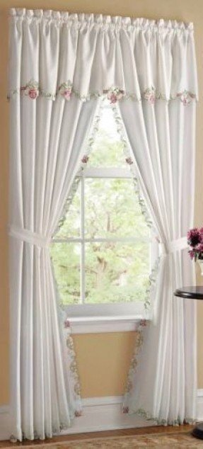 Attached valance curtains