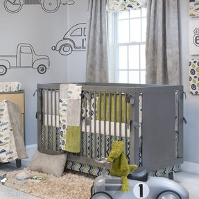 Baby Boy Grey Vintage Car Truck Route 66 Crib Nursery