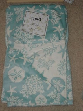 Blue white coastal tropical throw blanket new thro starfish seashell