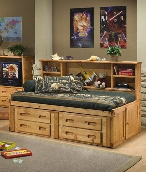 Cheyenne Solid Wood Twin Day Bed W Built In Bookcase Houston Only