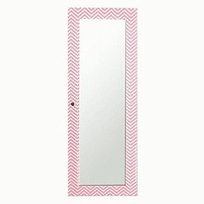 "Designer Decorative Pink White Chevron Striped Wooden Jewelry Armoire Full Length Mirror Wall Cabinet 55.5""H x 19.25""L"