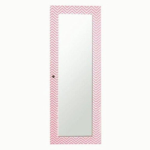 Designer Decorative Pink White Chevron Striped Wooden Jewelry Armoire Full  Length Mirror Wall Cabinet 55.5