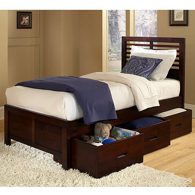 Ferris cherry twin size platform storage bed