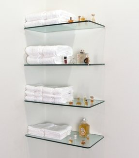 Floating glass shelves for bathroom 1