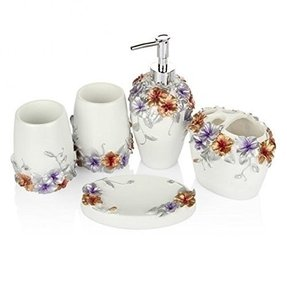 Lagute 5PCS Vintage Classic Luxury Bathroom Bath 3D Decor Accessories Collection Set for Hotel & Home with Soap dispenser, Toothbrush Holder, Toothbrush Cup, Soap Dish (Honeysuckle)