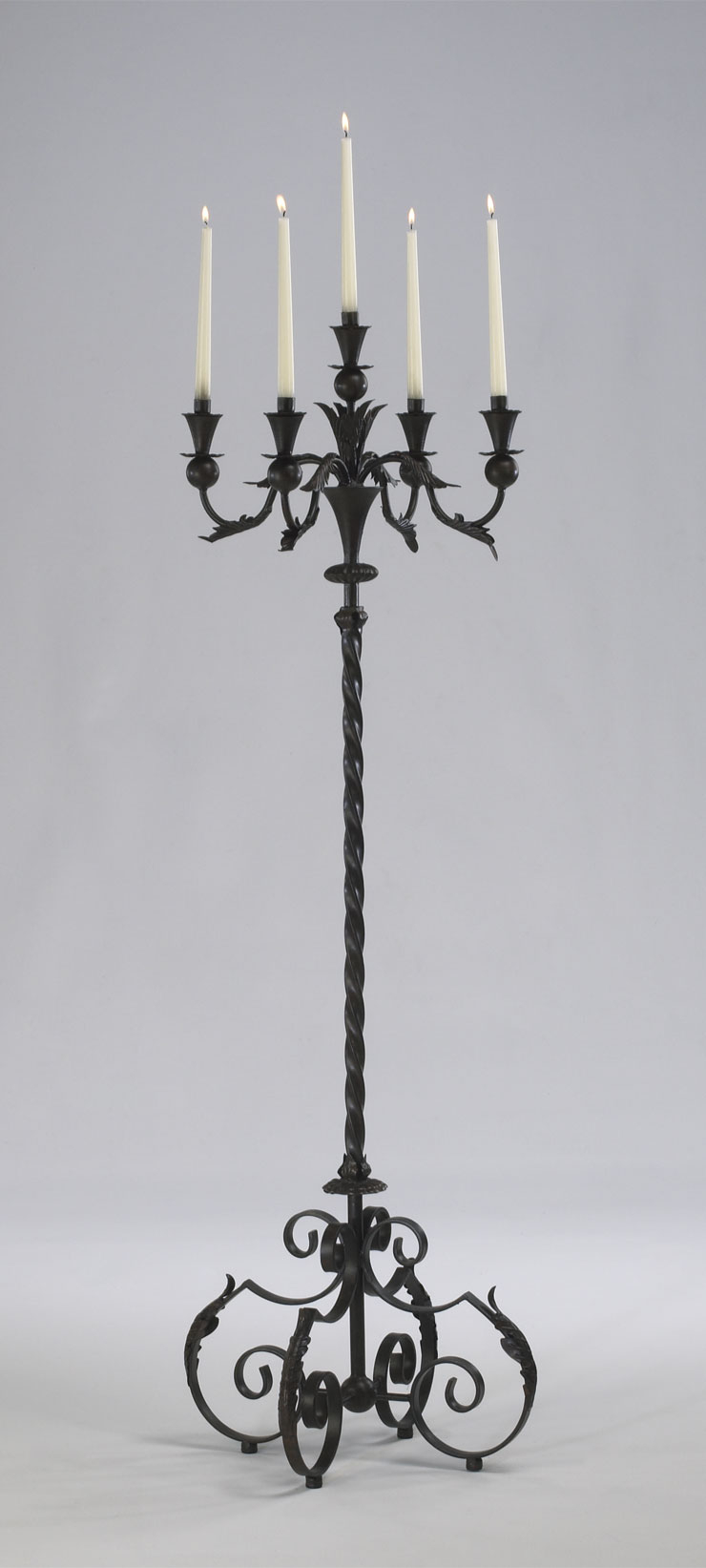 "Large Acanthus Multi 5 Taper Wrought Iron Floor Candelabra Tuscan French Gothic Candle Holder Stand Rustic 60"" Tall"