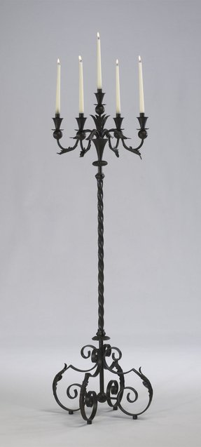 Large Acanthus Multi 5 Taper Wrought Iron Floor Candelabra Tuscan French Gothic Candle Holder Stand Rustic