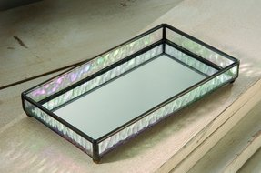 "Mirrored Vanity Tray, 9"" X 5"" X 1"""