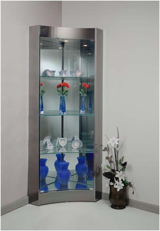 modern corner curio cabinet foter rh foter com Corner Curio Cabinets Walmart IKEA Corner Curio Cabinet