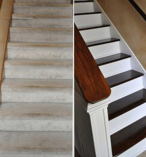 Oak stairs with carpet runner