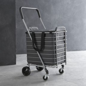 Pack and roll folding shopping cart