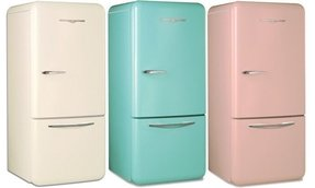 Pink retro fridge freezer