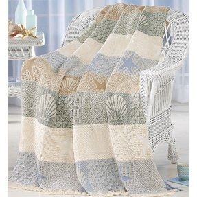 Seashells seashore throw blanket cover warm w fringe 48 x