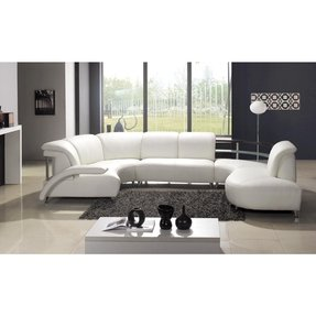 Small white leather sectional 1