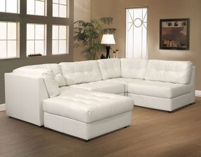 Small white leather sectional 15