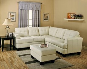Small white leather sectional