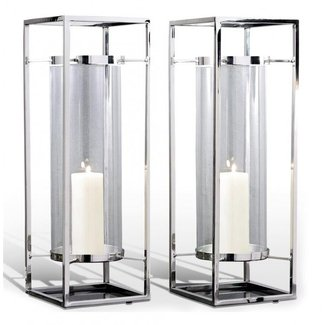Tall glass hurricane candle holders