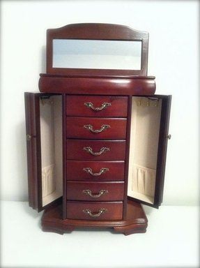 Tall gorgeous jewelry box dark wood