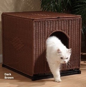 White cat litter box furniture