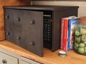 Wood microwave cabinet