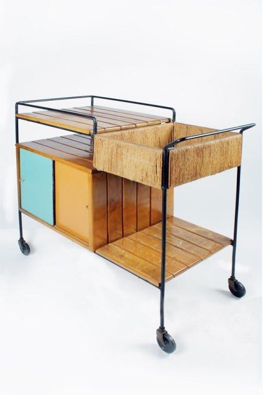 Wrought Iron Slatwood Serving Cart