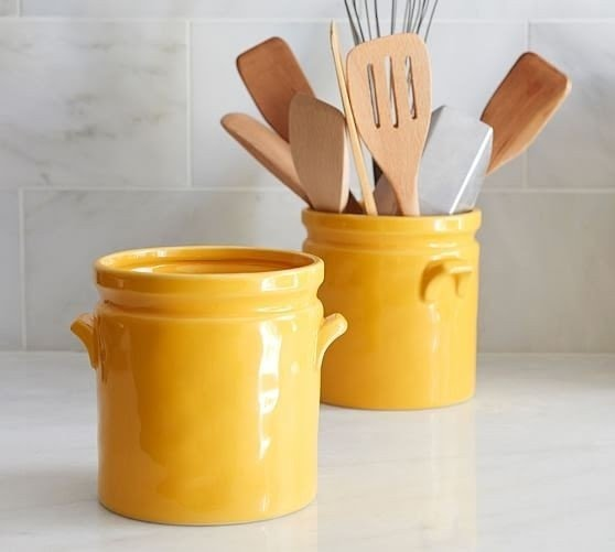 Charmant Yellow Ceramic Crock