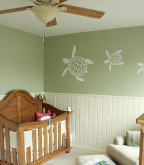 rustic green beach themed bedroom | Beach Themed Wall Decals - Foter