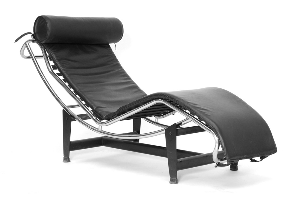Black Leather Chaise Lounge 1