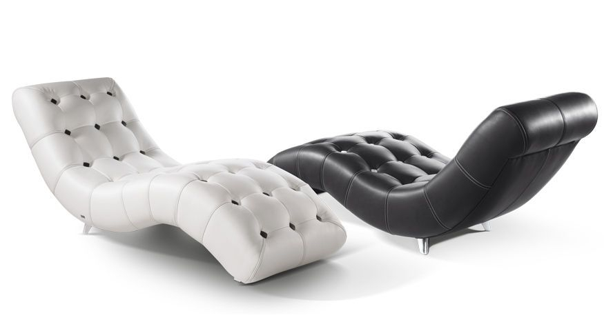 Black Leather Chaise Lounge Chair