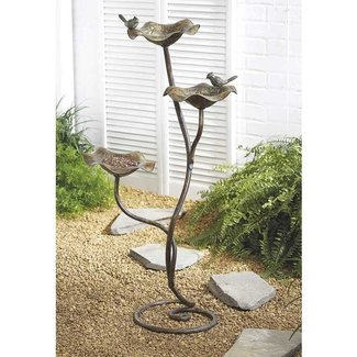 Cast iron 3 tier free standing bird feeder bath aviary