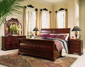 Cherry sleigh bed queen