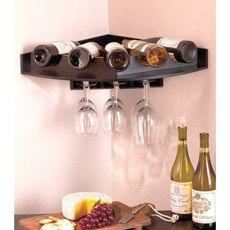 Corner wine glass rack