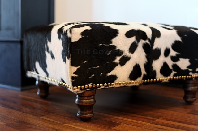 Cowhide Ottoman With Hand Applied Upholstery Tacks Eclectic Ottomans And Cubes Atlanta