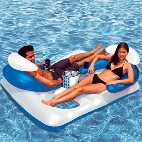 Double inflatable pool lounger