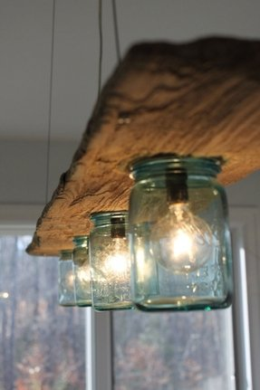Driftwood and antique jar hanging light