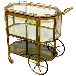 French brass serving tea cart bar cart