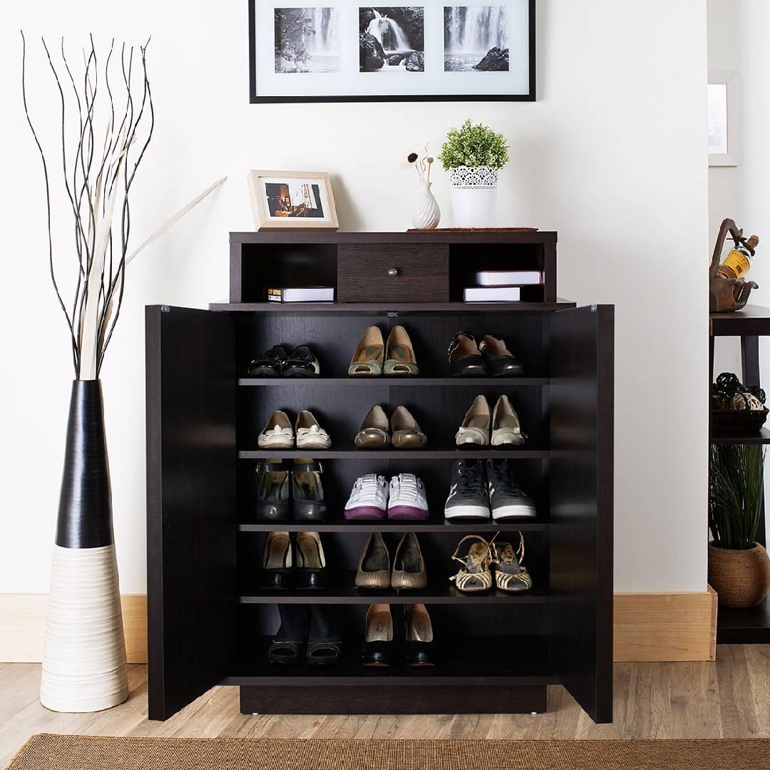 Furniture of america arthurie espresso enclosed 5 shelf shoe cabinet & Enclosed Shoe Rack - Foter