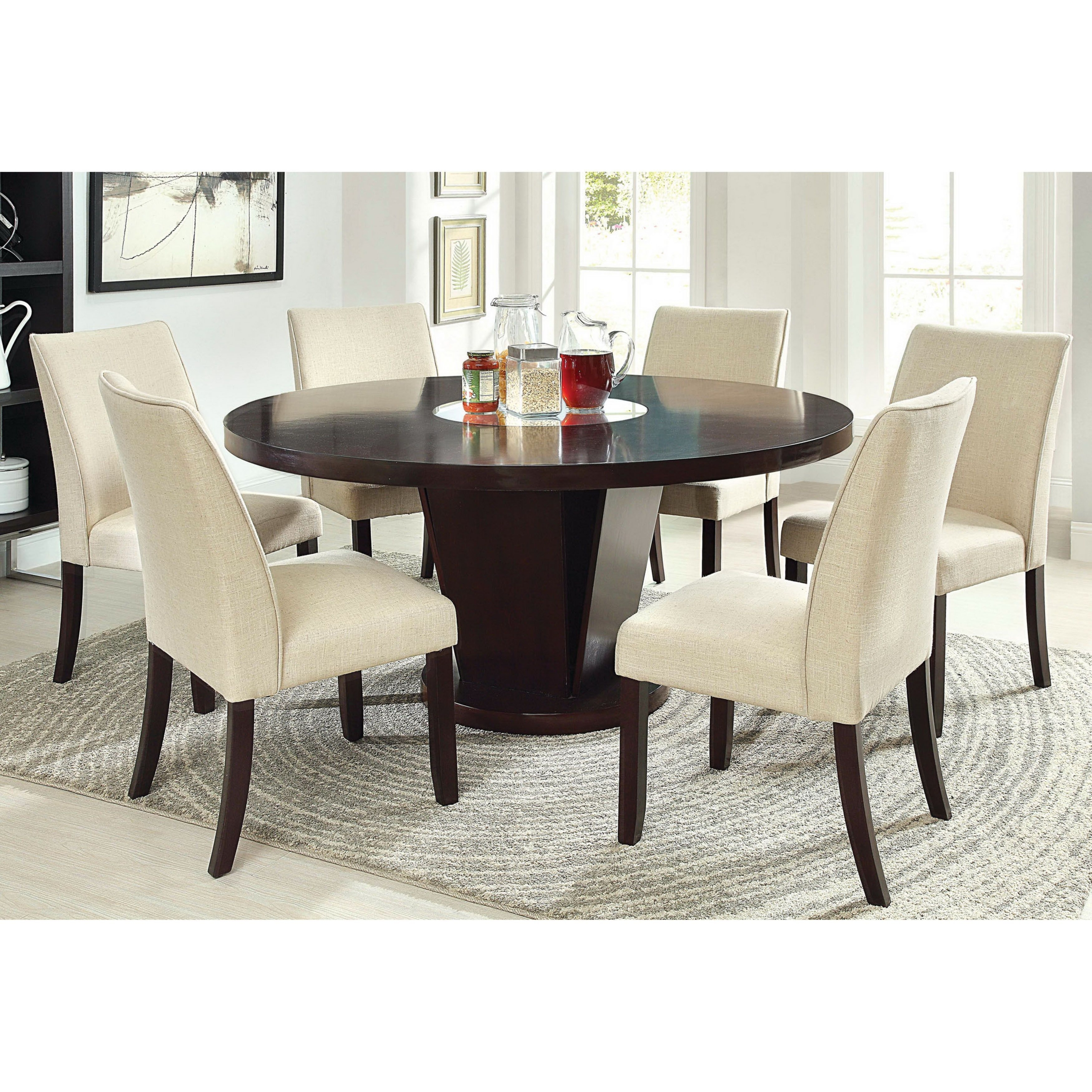 Marvelous Furniture Of America Telstars Round Dining Table With Lazy Susan,  Espresso