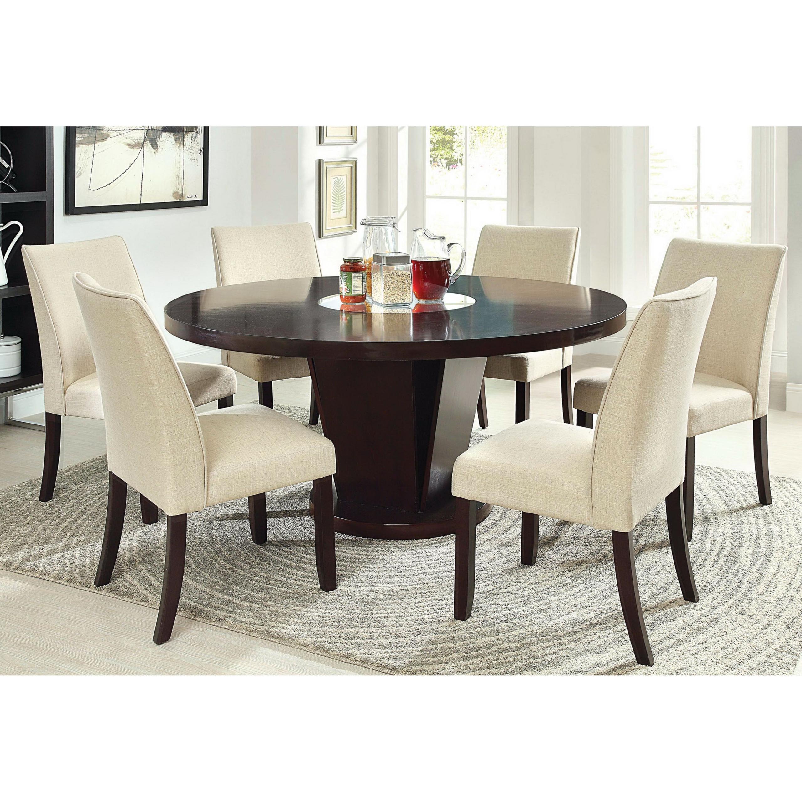 Elegant Furniture Of America Telstars Round Dining Table With Lazy Susan, Espresso Nice Ideas