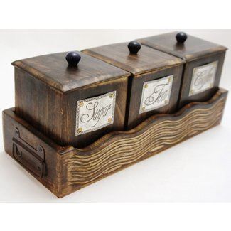 Handcrafted Wooden Antique Look Tea Coffee Sugar 3 Piece Canister Set Made of Mango Wood Large