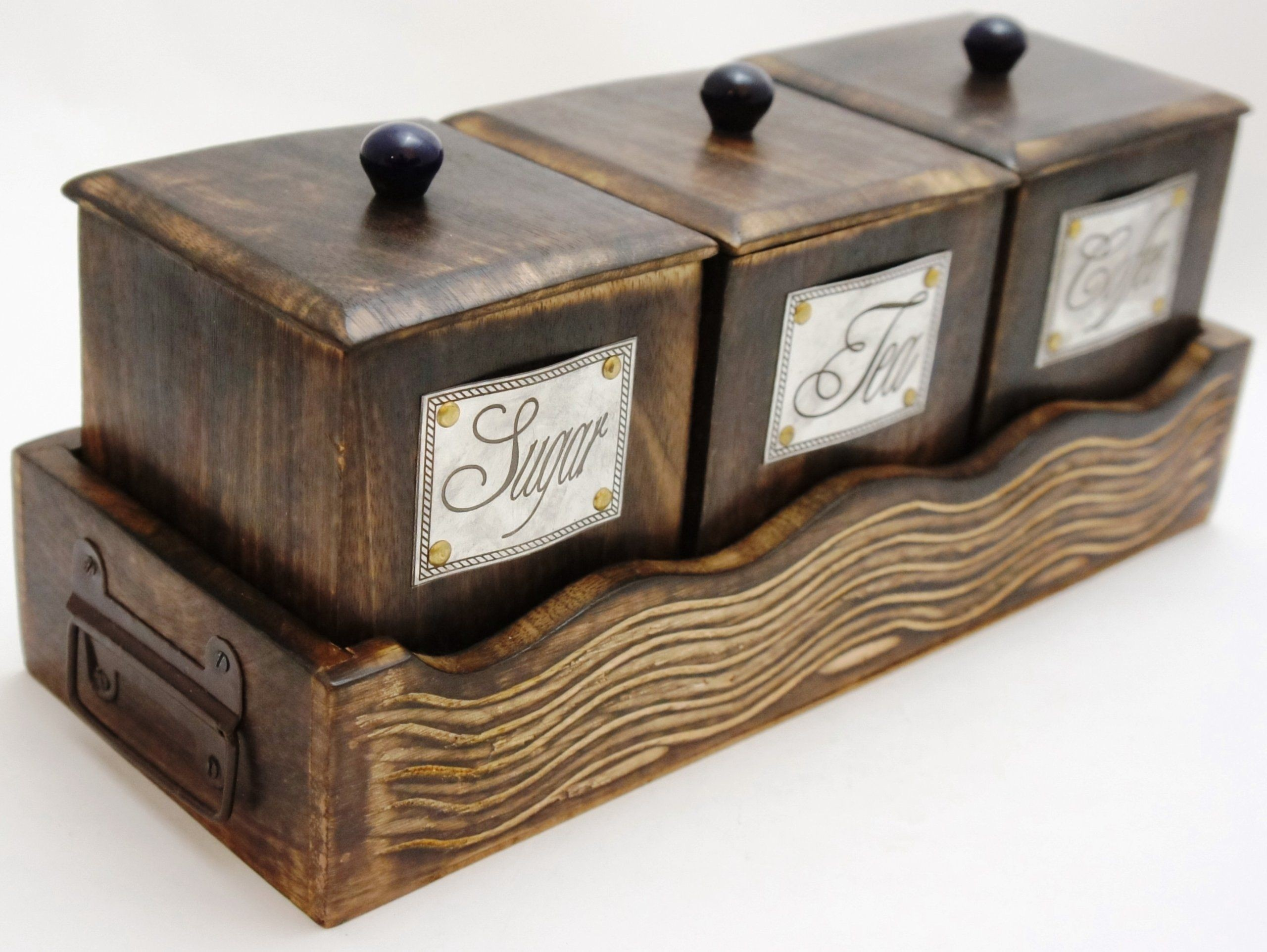 Superbe Handcrafted Wooden Antique Look Tea Coffee Sugar 3 Piece Canister Set Made  Of Mango Wood Large