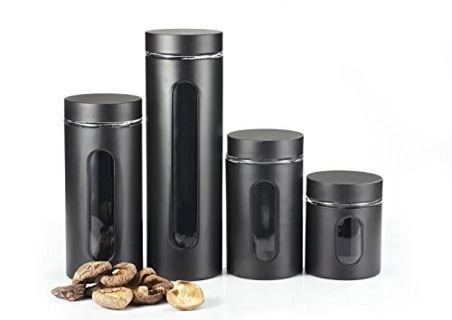 Ordinaire M2CBridge Kitchen Collection Metal Coated Window Canister Set With Airtight  Lids(Black) ,