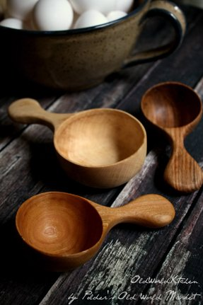 Measuring cup set large wood scoops fine