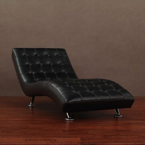 Modern black leather chaise lounge lounger chair new : leather chaise lounge chair - Cheerinfomania.Com