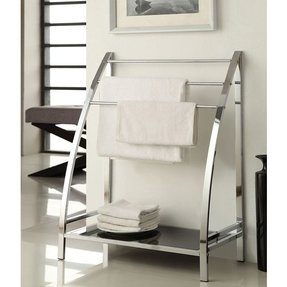 Modern silver metal chrome accent blanket quilt towel rack stand