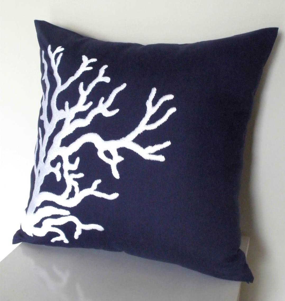 Navy Pillow 1 Nautical pillow cover Decorative Pillow Light Blue Pillow