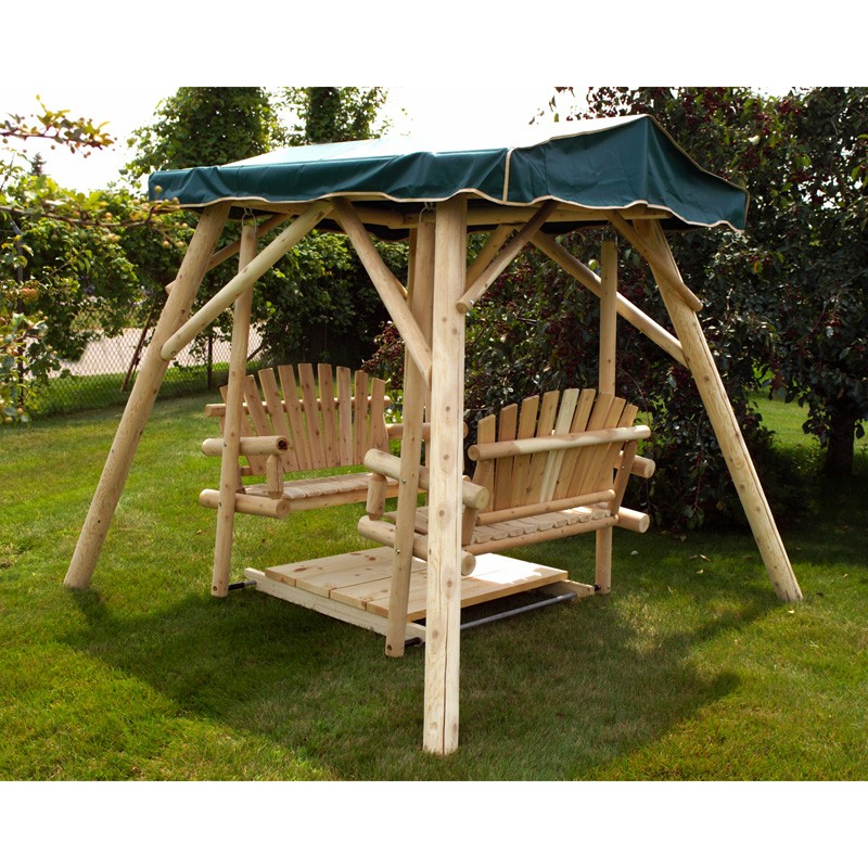 New Outdoor Double Wood Glider Swing Set W Stand Home Garden Patio Deck Backyard