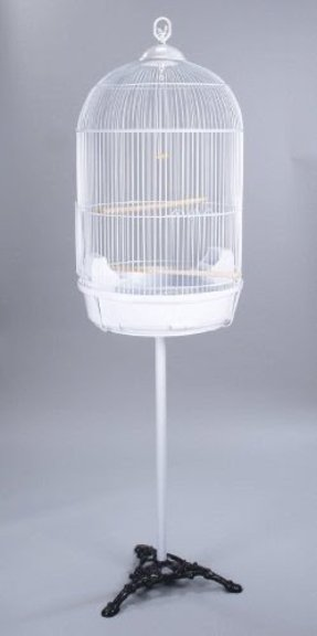 Round Bird Cage With Stand Finch Canary Cockatiel Parakeet Dome Top White