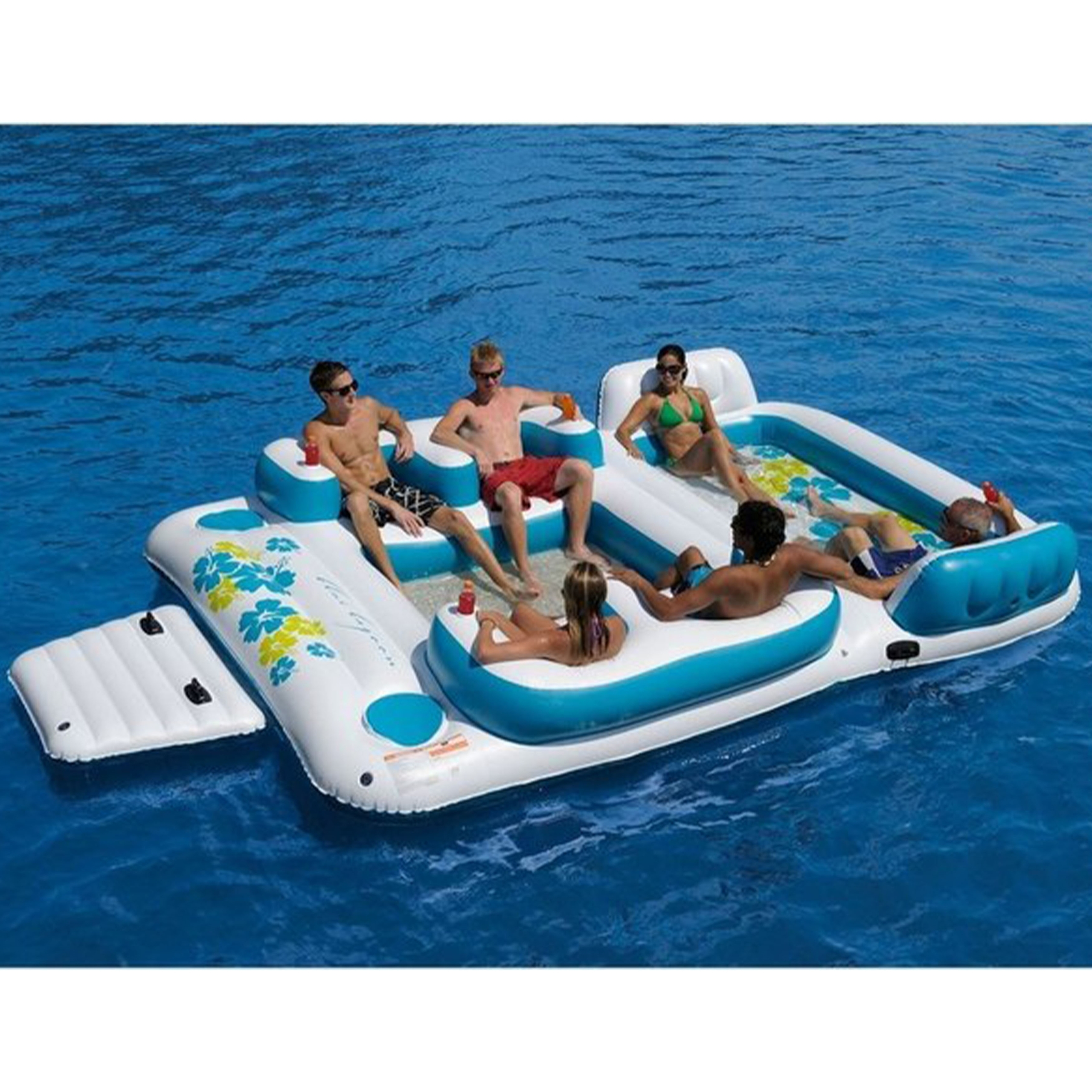 Sofina 2013 Inflatable 6 Person Pool Raft Floating Island W 2 Built In Coolers