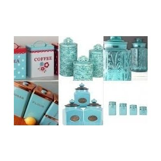 Teal kitchen canisters
